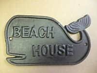 BEACH HOUSE WHALE CAST IRON 3D Pot Metal Sign Retro-Vintage Cute Home Decor. NEW