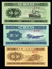CHINA 1953 STEAMSHIP AIRPLANE TRUCK 1FEN 2FEN 5FEN UNC SECOND 2TH RMB BANKNOTE