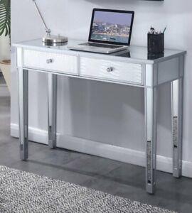 Gold Coast Mirrored Desk , Silver