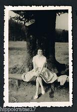 FOTO vintage PHOTO, Frau Wald Schirm pretty woman lady forest belle femme /103a