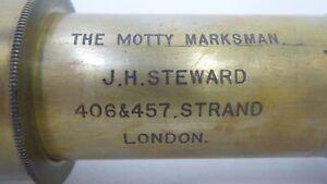 ANTIQUE  BRASS TELESCOPE MOTTY MARKSMAN - J.H. STEWARD THE STRAND LONDON