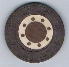 Dotted Vintage Antique Brown Inlaid Hat & Cane Mold Clay Poker Chip