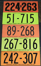1970 - 1974 Wisconsin Resident Deer Hunting License Back Tags...Free Shipping!