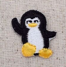 Small/Mini Penguin Black/White Arctic/Waving Iron on Applique/Embroidered Patch