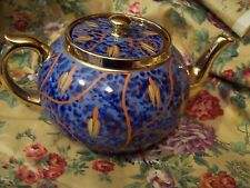 RARE Vintage Gibsons Teapot, Blue,Orange and Gold Beautiful Redware