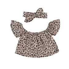 Toddler Baby Girls Leopard 2PCS Kids Off-shoulder Top+Scarf Headband Outfits Set