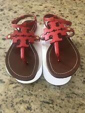 Tory Burch Women's Red Flat Sandals Size 8.5