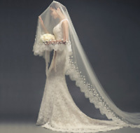 1.5M 2M 3M White Wedding Veils With Comb Lace Edge Appliques Bridal Accessories