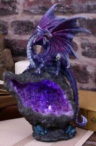 Dragon Amethyst Geode Guardian Figurine Sculpture Statue Ornament Led Light 22cm