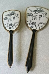 LOVELY VINTAGE / RETRO VANITY BRUSH AND HAND MIRROR --LEATHERETTE HANDLES