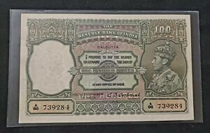 British India - 100 RUPEES - KGVI - 1943  - LARGE NOTE - C.D.Deshmukh - Calcutta