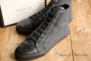 Gucci Black GG Leather Hi Tops Boots Trainers Sneakers UK 6.5 EU 39.5