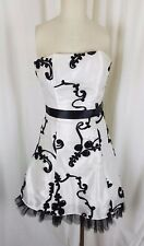 Jessica McClintock Ribbon Strapless Mini Formal Cocktail Prom Dress Womens 4 USA