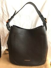 Authentic Burberry Black Grain Leather Elmstone Hobo Shoulder Tote Bag