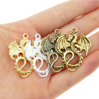 37994 Mixed Color Vintage style Dragon Pendant Jewelry Finding Charm Hot 8pcs