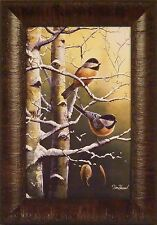 WINTER REFUGE - CHICKADEES by Jim Hansel 11x15 Song Birds Tree FRAMED PRINT