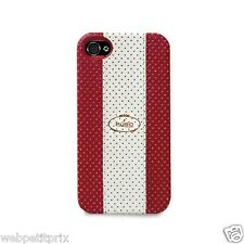 COQUE CUIR MARQUE PURO -- ROUGE/BLANC -  IPHONE 4/4S  NEUF