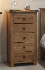 Tilson solid rustic oak bedroom furniture narrow wellington chest of drawers