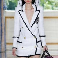 Occident Runway Womens double-breasted tweed suit jacket Wool Coats Blazers New