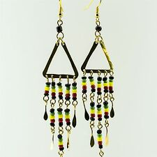 Handmade African Jewelry Rasta Masai Maasai Bead Brass Earrings 150-98