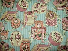 """2 1/3 yd x 44"""" Victorian Hatboxes Concord FABRIC blue mauve pink Sharon Kessler"""