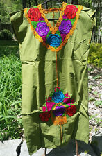 Maya Mexican Dress Embroidered Flowers Chiapas Puebla Olive Green Large PC