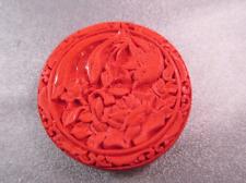 Carved Red Cinnabar Bird/ Flower Bead 1pc