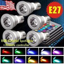 5x 5W E27 LED RGB Spot Light Bulb Magic 16 Color Lamp + Wireless Remote Control