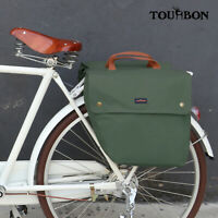 Tourbon Waxed Canvas Bike Bicycle Double Pannier Bag Roll-up Rear Seat Rack