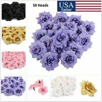 50x Artificial Fake Roses Silk Flower Heads Wedding Party Home Garden Decor US
