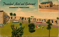 Vtg 1930's Dreamland Motel and Restaurant, Washington Pennsylvania PA Postcard