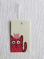 100 ACCESSORIES TAGS CLOTHING TAGS CUTE KITTY CAT HANG TAGS W SELF-LOCKING LOOPS