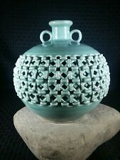 Vintage Heavy Celadon Basket Weave Porcelain Vase Green Glazed Lattice Korean