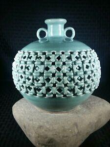 Vintage Heavy Celadon Basket Weave Porcelain Vase Green Glazed Lattice Korean