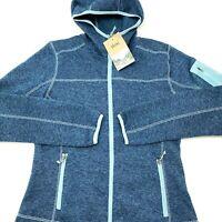 Stoic Women's Heden Hooded Jacket Full Zip Pockets Blue Size Medium