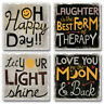 Mixed Absorbent Stone Coasters Set 4 Oh Happy Day Love You to the Moon & Back