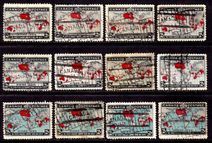 CANADA #85-86 2c MULTI, 1898 IMPERIAL POSTAGE LOT/12, VG-F, FLAG CANCELS