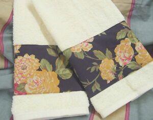 RALPH LAUREN Decorator Fabric /2 Custom Hand Towels CHARLESTON Cream