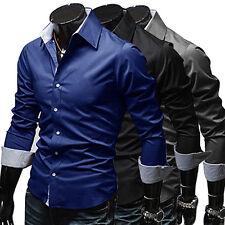 Men's Slim Fit Long Sleeve Dress Shirt Casual Tee Tops Business Shirts Latest