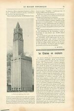 Gratte-ciel Immeuble Woolworth Building New-York GRAVURE ANTIQUE OLD PRINT 1913