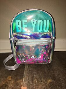 JUSTICE Girls Silver Grey Mini Backpack BE YOU Shaky Clear Mermaid Sea Shell EUC