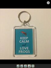 KEEP CALM AND LOVE FROGS Keyring - Xmas Gift Idea