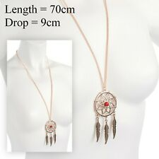 STUNNING Rose Gold Long Dream Catcher Necklace Pendant