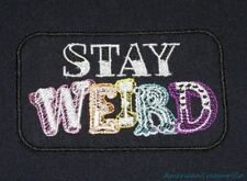 Embroidered Retro Vintage Style Stay Weird Rainbow Black Patch Iron On Sew
