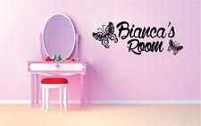 Custom Butterfly Kids Name Vinyl Sticker Decal for Wall Decor Girls Room