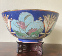 """QING TONGZHI ENAMELED BOWL Wood Stand Large 12"""" Blue Tan Flowers 1800s ANTIQUE"""