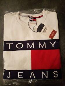 BNWT Genuine Tommy Hilfiger Jeans White Sweatshirt Top Unisex Size Medium
