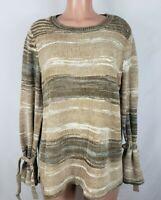 St John's Bay Women's Size XL Tan Brown Sweater Striped Long Tie Bell Sleeve
