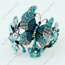 Sapphire blue rhinestone Crystal Leaf Butterfly Bracelet bangle jewelry woman