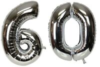 16 inch 60 Silver Number Balloons 60th Birthday Party Anniversary Foil Balloon